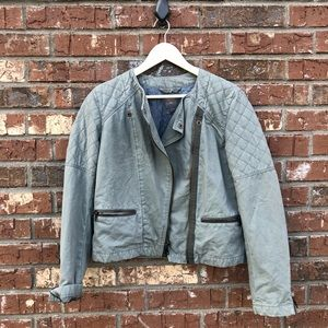 NWT GAP Green Quilted Moto Jacket